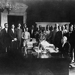 President Wilson signs legislation creating the Federal Land Bank System on July 17, 1916.
