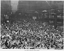 FCA employees join the celebration on Aug. 15, 1945 in downtown Kansas City, Missouri, after the surrender of Japan. Federal workers were excused from duty for two days. (Kansas City, Missouri Public Library)
