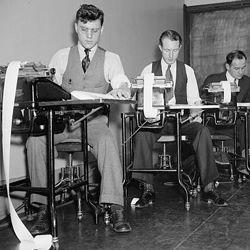 Clerks at the Farm Credit Administration working on reports (Library of Congress, 1937)