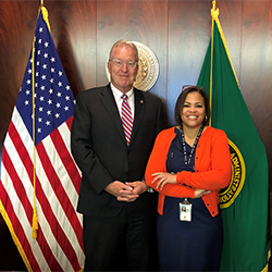 FCA Chairman and CEO Glen Smith and Chief Human Capital Officer Vonda Bell accept the Best Places to Work in the Federal Government Award in a virtual ceremony on June 29, 2021.