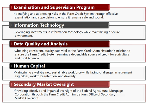 Management Challenges include Examination and Supervision Program, Information Technology, Data Quality and Analysis, Human Capital, and Secondary Market Oversight